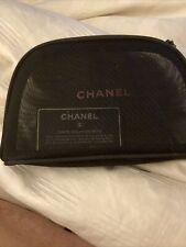 Chanel Mesh Black CC Charm Cosmetic Makeup   Bag Never Used.