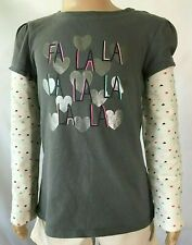 Jumping Beans Fa La La Gray with Multi-Colored Hearts Mock-Layer Skater Tee Sz 6