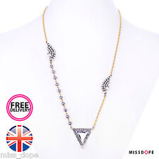 NEW CRYSTAL TRIANGLE LONG CHAIN NECKLACE PENDANT TASSEL BEADED WOMENS GYPSY BOHO
