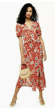 Topshop Red Floral Ruffle Midi Dress Size 8
