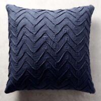 Anthropologie Sham Euro Textured Chevron Navy Blue Embroidered NWT