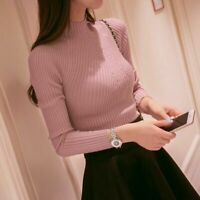 Womens Winter High Turtleneck Knitted Ribbed Jumper Sweater Tops Pullover Slim