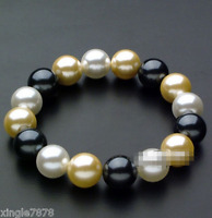 Natural 10mm Round Multi-Color South Sea Shell Pearl Stretchy Bracelet 7.5''