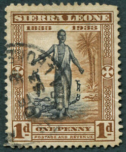SIERRA LEONE 1933 1d SG169 used NG Slavery Abolition Wilberforce #A06