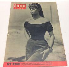 Young BRIGITTE BARDOT on Back Cover Vintage Danish Magazine Billed-Bladet 1955.