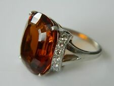 Tiffany & Co Platinum Iridium 12.5 TCW Citrine & 0.64 TCW Diamond Ring. 1920's