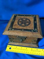 Primitive Wood Treasure Chest Jewelry Box Trinket Latch for Padlock VTG Antique-