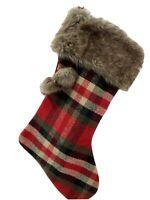Plaid Checked Holiday Christmas Stocking Faux Fur W/Tassel-Set of 4-Red Black
