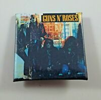 GUNS N ROSES VINTAGE SQUARE SHAPED PIN BADGE FROM THE 1980's HEAVY METAL
