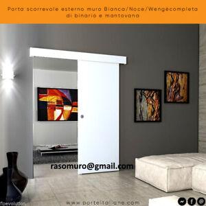 Porta scorrevole esterno muro Bianca/Noce/Wengècompleta di binario e mantovana