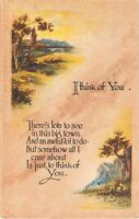 Old Motto Postcard Titled I Think of You With Scenes of a Church & of Mountains