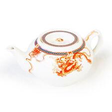 WHITE CHINESE DRAGON DESIGN DURABLE CERAMIC TEA POT