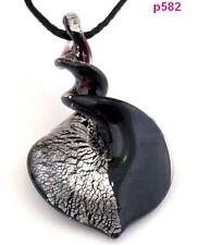 HandWork Retro Bicolor Knob Heart Lampwork Art Glass Pendant Necklace J5P