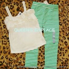 Nwt Baby Gap girls 5 5T green striped leggings Beige Ruffle Tank Top set outfit