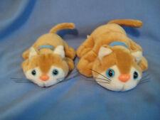Vtg Tara KuddleeKittee Baby Lot of 2 tan w/blue ribbon plush cats