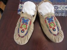 """OLD BEADED MOCCASINS (Puckered Style, Woodlands? ) SZ 10.5"""""""