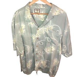 Tommy Bahama Short Sleeve Button Front 100% Silk Hawaiian Shirt Men's Size XL