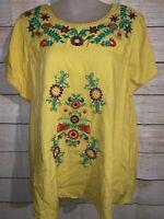 NWT Anthropologie Hazel Yellow Embroidered Floral Boho Hippie Medium Blouse