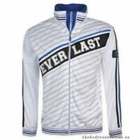 MENS EVERLAST TRICOT JACKET HOODIE TRACKSUIT TOP Double Zip SIZE M WHITE A42312