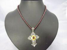 schöne Granat Kette mit Silber 835 Anhänger Kreuz