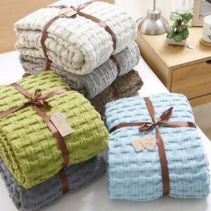 120*180CM Throws Double King Blanket Bed Home Nap Sleeping Knitted Knitting Wrap