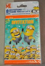 New Minion, Despicable Me, Birthday Party Invites, Thank-You Post Cards, 8 Each