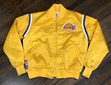 Vintage STARTER NBA Los Angeles Lakers Satin Jacket Gold Large