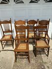 Lot of 6 Mismatched Antique Cane Oak Dining Chairs