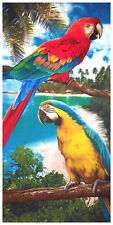 "30x60"" Tropical Parrots Premium Velour Beach Towel"