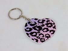 24 Nail File Key Rings ~ Heart Shape w/Pink Leopard Print, Party Favor Giveaways