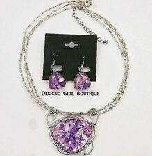 Purple Shell Necklace & Earrings Silver-tone Handcrafted India Abstract Exotic