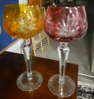 VINTAGE BOHEMIAN CRANBERRY AND YELLOW CUT CRYSTAL WINE, CORDIAL GOBLET GLASS.