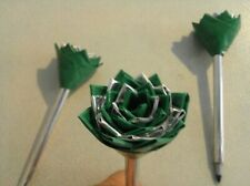 Duct Tape Flower Pens Set of 3  Green and Silver 258378