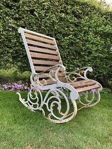 Antique Vintage Garden Rocker Cast Iron Chair