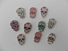 10 NEW WOODEN MIXED SKULL SKELETON SHAPED BUTTONS. SEWING SCRAPBOOK CRAFTS