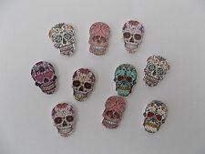 10 nouveau en bois mixte crâne squelette en forme de boutons. sewing scrapbook artisanat