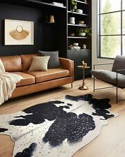 """Loloi II Bryce Collection Faux Cowhide Area Rug, 3'10"""" x 5', Black/Silver"""