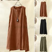 ZANZEA 8-24 Women Sleeveless Corduroy Sundress Plus Size Shift Dress Tank Dress