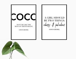 Set of 2 Coco Quote Poster Prints   A3 Wall Art Home Decor Gift Idea