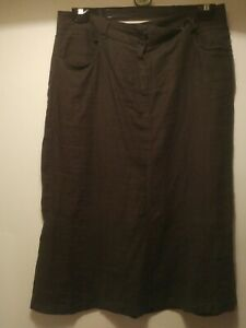 Ladies  Jigsaw brown 100% linen  skirt size 12
