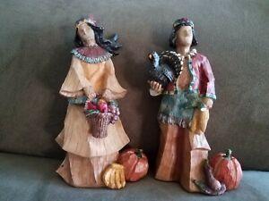 "Thanksgiving Figurines, Native Man & Woman, Gerson International 9"" Tall"