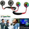 LED Portable USB Rechargeable Neckband Dual Cooling Mini Fan Lazy Neck Hanging
