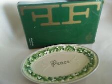 FITZ & FLOYD WINTER GARDEN PEACE SENTIMENT GREEN MISTLETOE OVAL TRAY