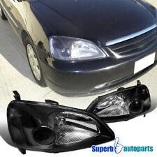 For 2001-2003 Honda Civic 2 4 Door Headlights Head Lamps Black