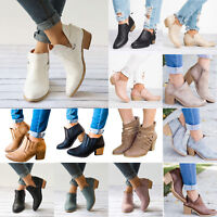 Women Ankle Boots Chunky Mid Block Heel Summer Casual Booties Sandals Shoes Size