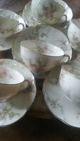 SALE. VTG. LIMOGES THEODORE HAVILAND. Rosalinde Tea Cups & Saucers Set of 6. EX.