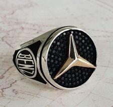 Mercedes Benz Ring Black Onyx Gemstone Solid 925 K Sterling Silver  Mens Ring