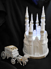 3Pc Lighted Castle Coach Wedding Quince cake topper Fairytale White GOLD