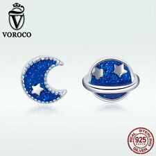 Voroco S925 Sterling Silver Stud Earrings Moon & Sun Blue Enamel Fashion Jewelry