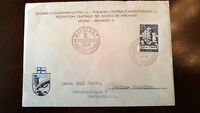 """RARE FINLAND 1952 """"CHESS"""" OLYMPIAD POSTALY USED 1ST DAY COVER TO GERMANY + LABEL"""